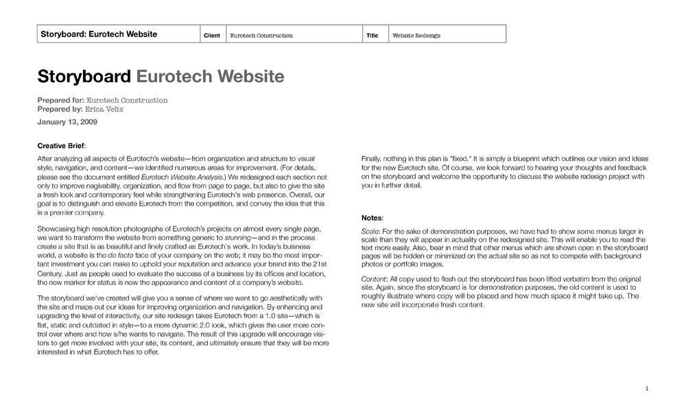 Erica Velis » Blog Archive » Eurotech Website Design (Storyboard)